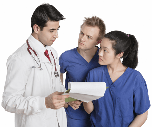 Doctor with assistants